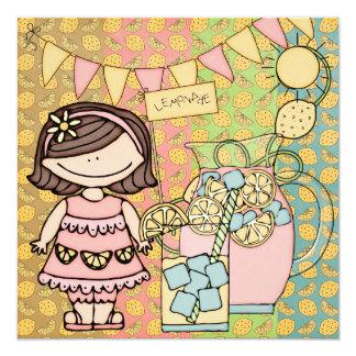 Brown Hair Girl Summer Lemonade Birthday Invite