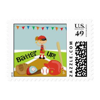 Brown Hair Girls Softball Postage Stamps