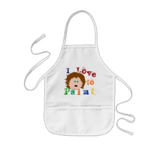 Brown Hair Green Eyed Little Girls Face Painting Kids' Apron