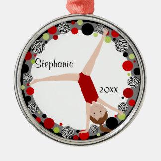 Brown Hair Gymnast in Red, Black & Green Keepsake Metal Ornament