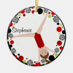 Brown Hair Gymnast Red, Black & Green Personalized Ceramic Ornament