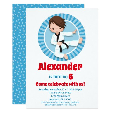 Brown Hair Karate Judo Boys Birthday Invitation