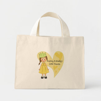 Brown Hair Mommy and Daddy's Princess Mini Tote Bag