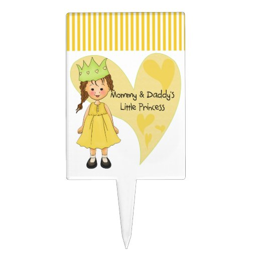 Brown Hair Mommy and Daddy's Princess Cake Toppers