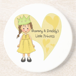Brown Hair Mommy and Daddy's Princess Coaster