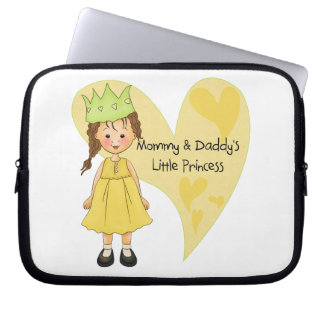 Brown Hair Mommy and Daddy's Princess Laptop Sleeves