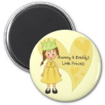 Brown Hair Mommy and Daddy's Princess 2 Inch Round Magnet
