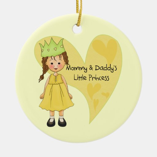 Brown Hair Mommy and Daddy's Princess Christmas Ornament