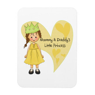 Brown Hair Mommy and Daddy's Princess Rectangular Magnet