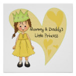 Brown Hair Mommy and Daddy's Princess Print