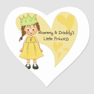 Brown Hair Mommy and Daddy's Princess Heart Sticker