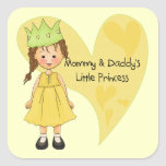 Brown Hair Mommy and Daddy's Princess Stickers