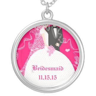 Brown Hair Pink Wedding Bridesmaid Necklace