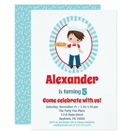 Brown Hair Pizza Party Boys Birthday Invitation