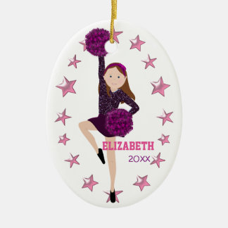 Brown Hair Pom Squad Personalized Keepsake Ceramic Ornament