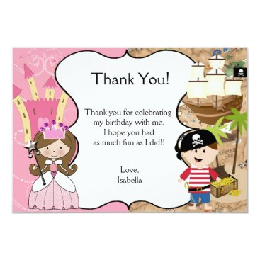 Beach Themed Brown Hair Princess & Pirate Party Thank You Card