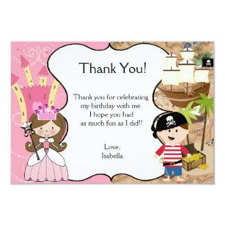Brown Hair Princess & Pirate Party Thank You Card Custom Announcements