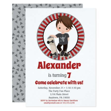 Brown Hair Skateboard Boys Birthday Invitation