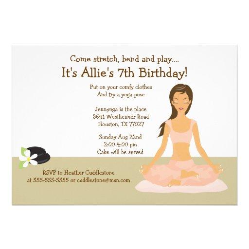 Personalized meditation invitations custominvitations4u brown hair yoga girl birthday party 5x7 invitation stopboris Gallery