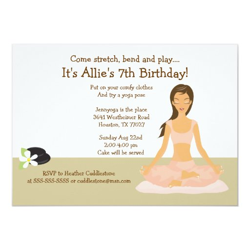 Brown Hair Yoga Girl Birthday Party 5x7 Invitation