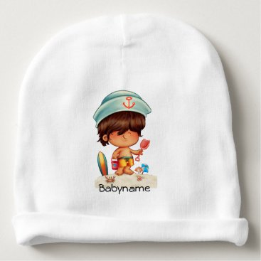 Beach Themed Brown-Haired Beach Bum Personalized Baby Beanie