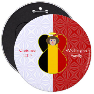 Brown-haired Belgian Flag Angel Red White Pinback Button