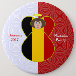 Brown-haired Belgian Flag Angel Red White Squiggly Button