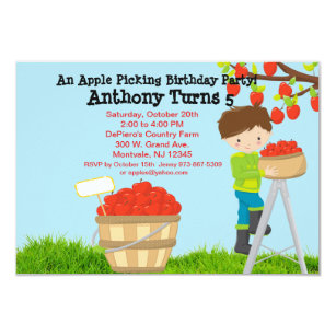 Brown Haired Boy Apple Picking Birthday Party Invitation