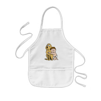 brown haired boy with big dog kids' apron