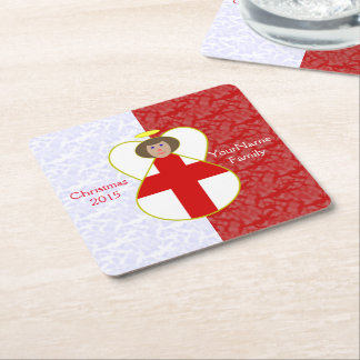Brown-haired Englsh Flag Angel Red White Square Paper Coaster