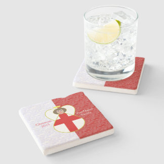 Brown-haired Englsh Flag Angel Red White Stone Coaster