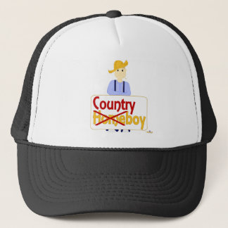 Brown Haired Frowning Farmie Blue Pants Country X  Trucker Hat