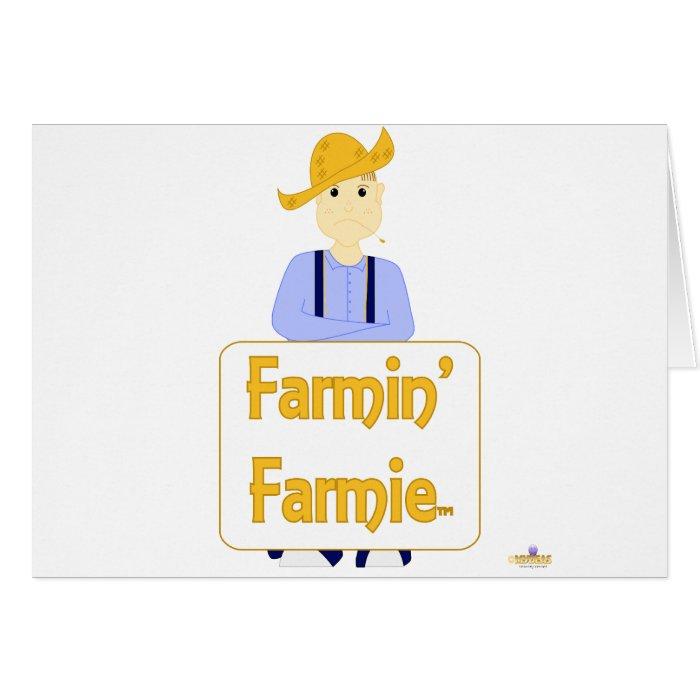 Brown Haired Frowning Farmie Blue Pants Farmin Far Card