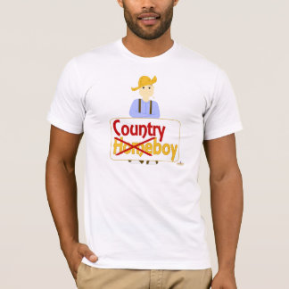 Brown Haired Frowning Farmie Brown Pants Country X T-Shirt