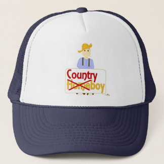 Brown Haired Frowning Farmie Brown Pants Country X Trucker Hat