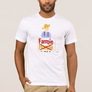 Brown Haired Frowning Farmie Brown Pants Farmie X  T-Shirt