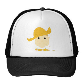 Brown Haired Frowning Farmie Face Farmie Mesh Hats