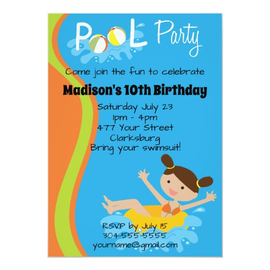 Brown Haired Girl Birthday Pool Party Invitation