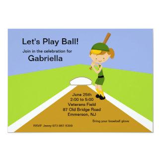 Brown Haired Girls Softball Birthday Invitation