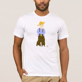 Brown Haired Grinning Farmie Brown Pants T-Shirt