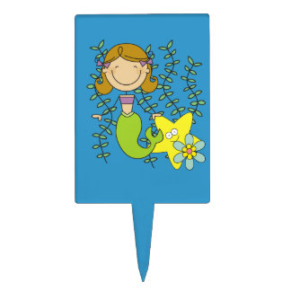 Brown Haired Mermaid Cake Topper