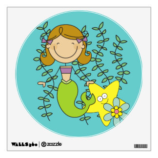 Brown Haired Mermaid Wall Sticker