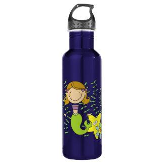 Brown Haired Mermaid Water Bottle