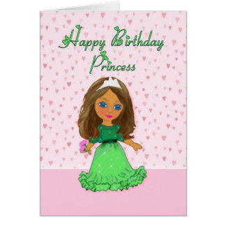Brown Haired Princess Birthday Card
