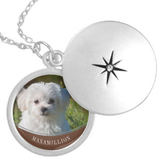 Brown Half Moon with Name and Pet's Photo Memorial Silver Plated Necklace