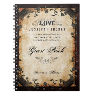 Brown Halloween Wedding LOVE Gothic GUEST BOOK