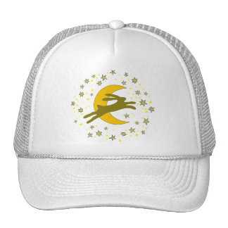 Brown Hare and Crescent Moon in a Starry Sky Trucker Hat