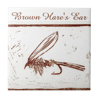 """""""Brown Hare's Ear"""" trout fly tile. Tile"""