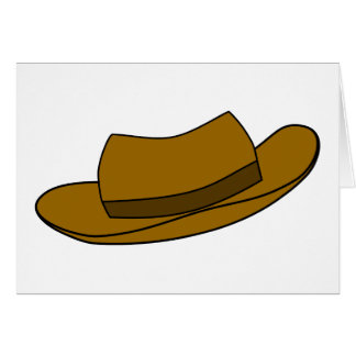 Brown hat illustration. On White. Card