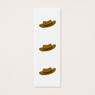 Brown hat illustration. On White. Mini Business Card